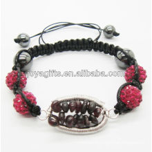 crystal pendant woven bracelet Woven Garnet chip lucky tree gemstone and 10MM Pink Crystal balls woven bracelet