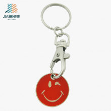 Customize Logo Metal Craft Red Smiley Face Trolley Coin Keychain with Dog Hook
