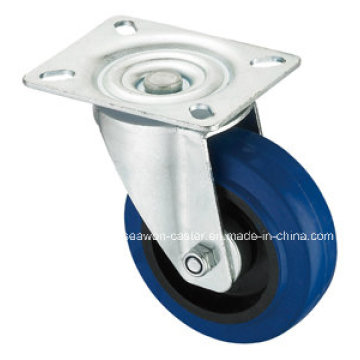 Elastic Rubber Top Plate Swivel Blue Elastic Rubber Caster