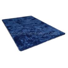 Modern Design Navy Blue Polyester Shag Area Rug, Shaggy Pile Carpet Rugs Customized