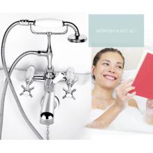 Robinet de baignoire en laiton chromé mural et mélangeur de douche pour baignoire mural