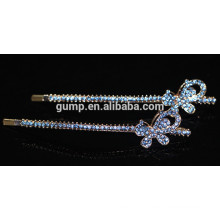 Nouveau design papillon brillant Blue Rhinestone Bobby pin Crystal Barrette