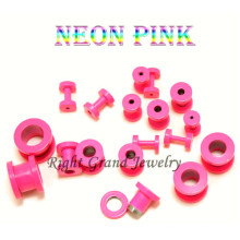 Fancy Neon Pink anodizado 316L medidores de oreja de acero del oído