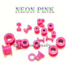 Jauges de bouchons d'oreille en acier anodisé 316L rose fluo