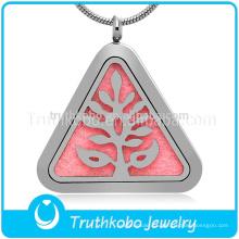 Árvore única Pingente De Cor De Aço Aromaterapia Difusor De Óleo Essencial Pingente Medalhão Charme Jóias Para As Mulheres Presente Personalizado