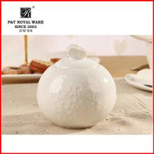 elegant pattern Houseware white fine porcelain sugar pot, creamer pot,sugar jar
