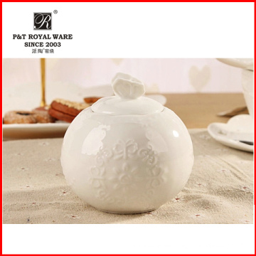 Elegantes Muster Houseware weißes feines Porzellan-Zucker-Topf, Sahne-Topf, Zuckerglas