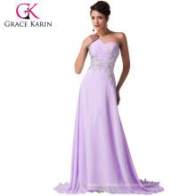 Grace Karin un hombro con cuentas de largo vestido de noche de lila CL4506-4