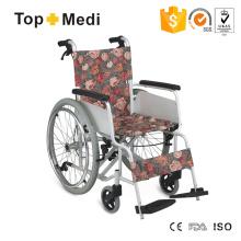 Cadeira de rodas manual de alumínio leve estilo rural europeu com freio de mão