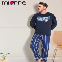 MIORRE OEM MEN'S NEW 2017 COLLECTION LONG SLEEVEE PRINTED NAVY TOP & ELEGANT PLAID PATTERNED BOTTOM SLEEPWEAR PAJAMAS SET