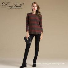 Neue Design Mode Kabel stricken Kaschmir outwear O-Ausschnitt mit langen Ärmeln Pullover weiblich