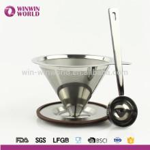 Heißer Verkauf Edelstahl Papiererless wiederverwendbare gießen über Kegel Kaffeemaschine