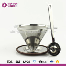 Hot selling Stainless Steel Papaerless Reusable Pour Over Cone Coffee Maker