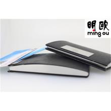 Titular de cartão de visita de cartão de nome de couro preto aberto