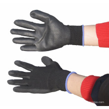 NMSAFETY EN388:2016 4131X pu coated nylon liner black gloves