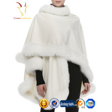 Nuevo abrigo de piel de zorro de señora de moda de invierno con 100% chal de cachemira