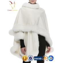 New Fashion Winter Lady's Fox Fur Trim with 100% Cashmere Shawl