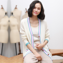 Autumn and winter pure cashmere sweater women long paragraph cardigan buckle double bag wave sweater coat loose jacket