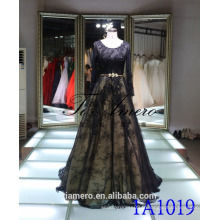 1A1019 Sexy Black Lace Long Sleeve Backless Trailed Prom Dress Robe de soirée