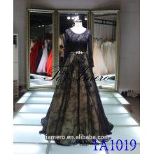 1A1019 сексуальный черный кружева с длинным рукавом спинки прицепной Пром платье вечернее платье