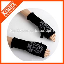 Logotipo del cliente barato colorido knit acrílico medio dedo guantes