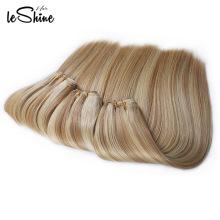 Coser cabello humano Ombre Tejer cabello, dos tonos cabello trenzado, rubio rizado Halo extensiones de cabello