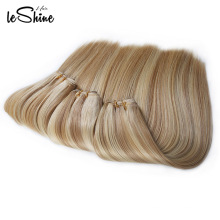 Sew In Human Hair Weave Ombre Hair Weaves, Two Tone Braiding Hair, Blonde Curly Halo Hair Extensions