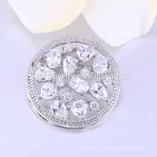 alta qualidade flor forma redonda 925 broches de jóias de prata esterlina para o casamento