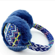 Inverno Simplicidade Mulheres Knitted pelúcia Fake Fur Earmuffs