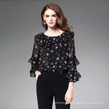 Apparel Summer Blusas Print Chiffon Shirts Loose Blouse Women Plus Size Tops