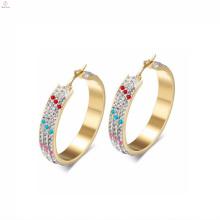 Atacado de moda de aço inoxidável de cristal grandes brincos de argola de ouro