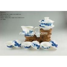 Голубой пейзаж Пу Эр чайная посуда комплект-1 Гайвань, 1 кувшин и 6 чашек