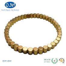 Pequeno tamanho permanente NdFeB cilindro ímã com revestimento de ouro