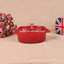 Oval Enamel cast iron mini stock pot