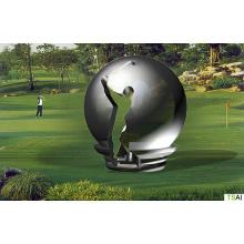 Moderne große berühmte abstrakte Kunst Edelstahl Kugel Golf Spieler Skulptur für Outdoor Dekoration