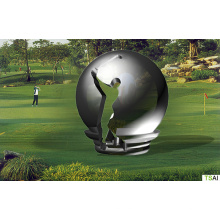 Modern Large Famous Abstract Arts Stainless steel Sphere golf player Sculpture for Outdoor decoration