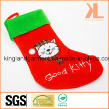 Broderie de qualité / Applique Velvet Good Kitty Cat Style Stocking pour Décoration