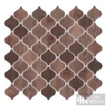 Linterna de madera natural marrón que imprime teja de vidrio reciclada