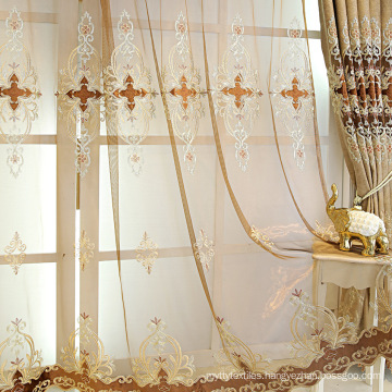 ready made embroidery window luxury European curtains for the living room with valance