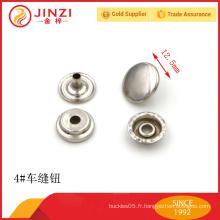 Bouton de couture métallique décoratif en alliage de zinc