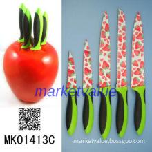 5PCS Non Stick Coating Kitchen  Knife  Set with Resin Knife Block