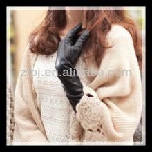 fashion lady wearing leather long cuff winter glove