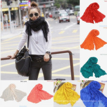 Lingshang 100%cotton solid color joker fold wrinkle scarf pashmina shawl scarves