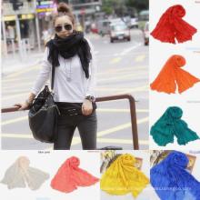 Lingshang 100% algodão palhaço cor sólida prega do enrugamento lenço pashmina xale lenços