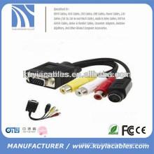 Nuevo tipo vga 15pin a 4pin S-video 3 cable del adaptador del convertidor del rca 1m para la TV de la PC