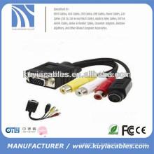 Novo tipo vga 15pin para 4 pinos S-vídeo 3 rca conversor cabo adaptador 1m para pc TV