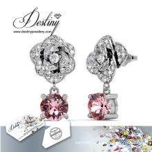 Destino joyas cristales de Swarovski pendientes flor