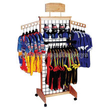 Custom Grid Panel 4-Way Wood Clothing Retail Store Garment Promotion Portable T-Shirt Floor Display Stand