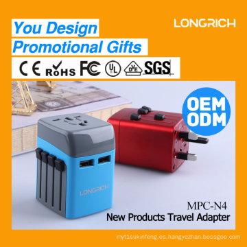 Multi-popuse adaptador de viaje universal con cargador USB dual