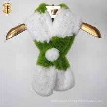 El tamaño modificado para requisitos particulares al por mayor de la fábrica y el color hizo punto la bufanda de la piel del conejo del rex